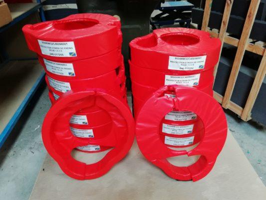 Septembre 2018 : Fabrication de protections pour étriers de freins d'avion en toile cousue et mousse usinée.
